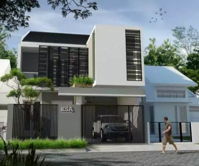 desain rumah minimalis modern 2 lantai tampak depan