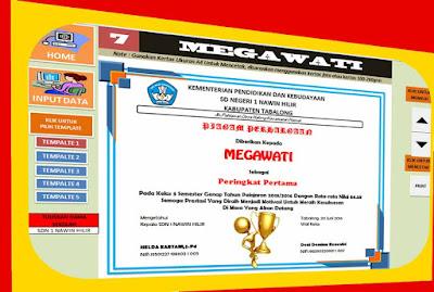 Aplikasi Piagam Juara Kelas Excel Untuk Sekolah Kemdikbud