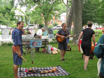 Hiroshima Day Kingston Peace Lantern Ceremony making music together