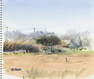 柿の木の風景 水彩スケッチ Persimmon Tree  Watercolor