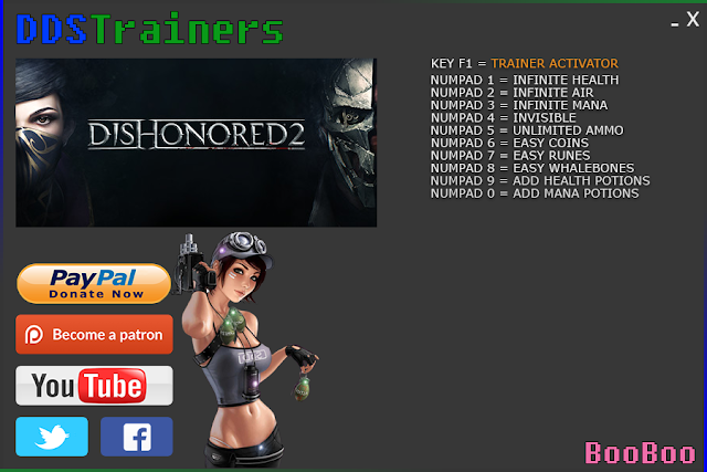 Dishonored 2 Trainer and Cheats for PC