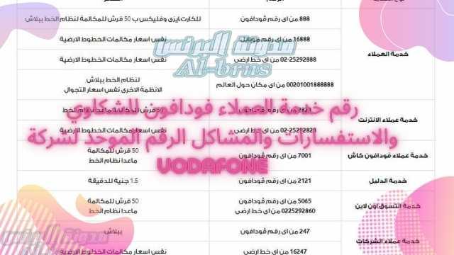 رقم خدمة العملاء فودافون للشكاوي والاستفسارات والمشاكل الرقم الموحد لشركة Vodafone