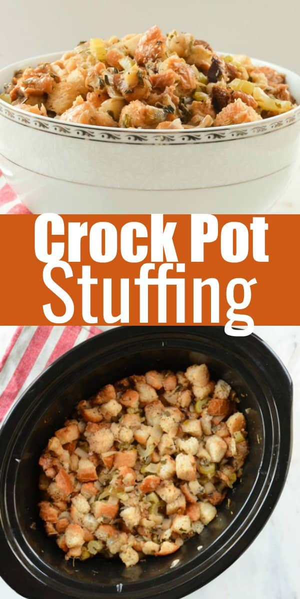 Crock Pot Stuffing recipe is packed with flavor from fresh herbs and wine. Making it a must for Thanksgiving from Serena Bakes Simply From Scratch.