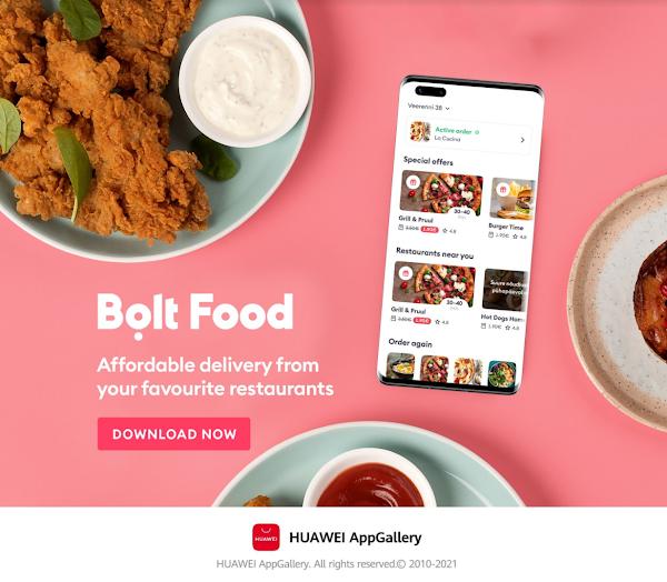 Bolt Food já disponível na Huawei AppGallery