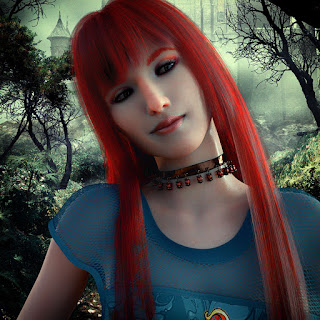Urban Fantasy Novel, Redhead female smirking as she stands within a dark forest with a castle in the background