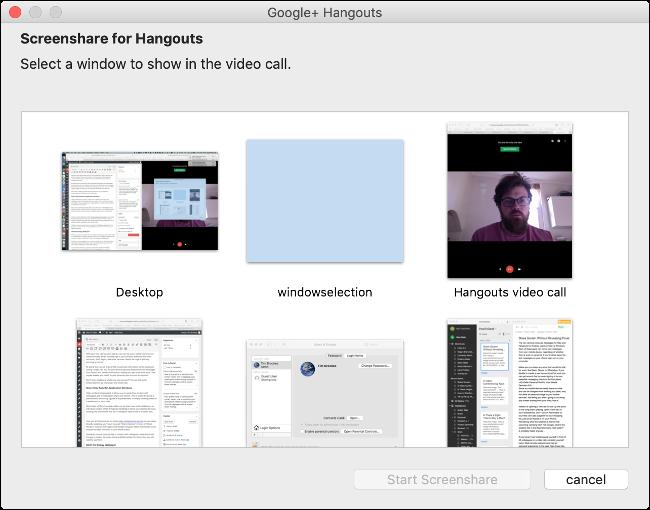 حدد أي نافذة تريد مشاركتها في Google Hangouts