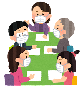マスクを付けた会議のイラスト(人々)
