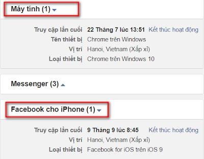 Ngày giờ đăng nhập Facebook trên các thiết bị