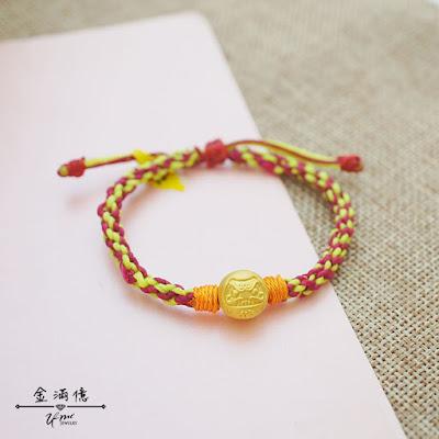 達摩-不倒翁-黃金手鍊-蠶絲蠟線手繩