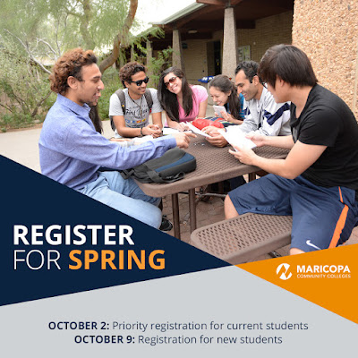 Image of students gathered around an outdoor seating area, with Rio Salado mascot splash in foreground with backback and books in hand.  Text: Register for spring.  Other text in blog.