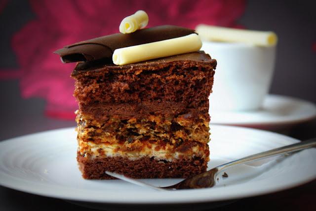 marysieńka,czekoladowa impresja,placek z orzechową wkladką,ciasta na imieniny,desery,biszkopt idealny
