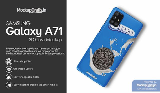 Mockup Gratis Custom Case 3D SAMSUNG Galaxy A71