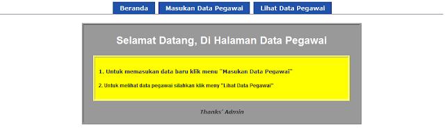 tampilan depan aplikasi penyimpanan data pegawai