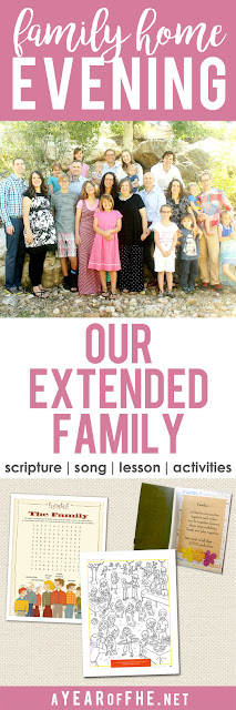 A Year of FHE // Check out this great Family Home Evening about the blessings of  having an extended family, whether near or far. Includes a song, scripture, lesson, and three activities to choose from. This is perfect for right before the holidays or for anytime at all!! #lds #extendedfamily #familyreunion