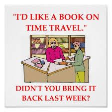 Meme de humor sobre viajes en el tiempo y devolución de libros a bibliotecas
