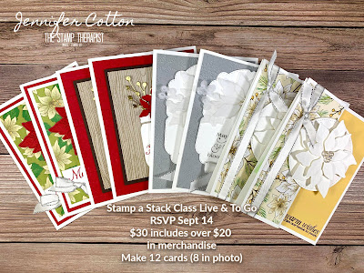 Christmas Stamp a Stack Class includes $20 in merch.  All paper (except DSP) cut, punched, die cut, embossed - ready for you to stamp and assemble!!  RSVP by Sept 14, 2020.  #StampTherapist #Stampinup