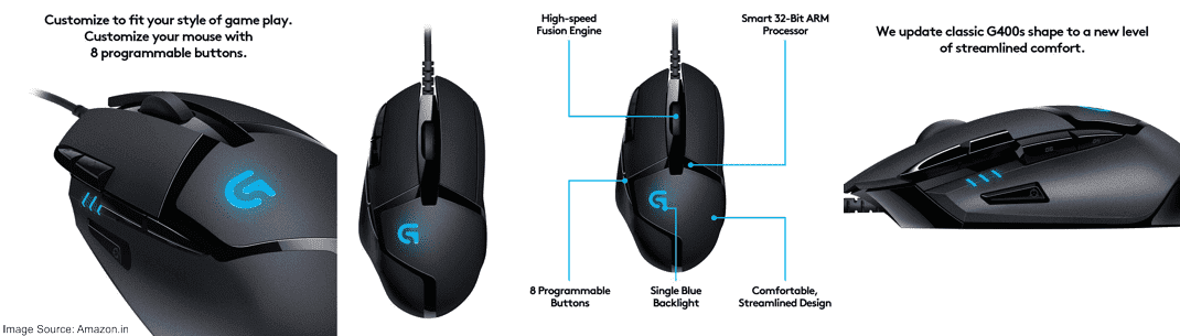 Logitech G402 Hyperion Fury Gaming Mouse (4000 DPI)