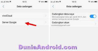 backup data vivo y71 ke server google