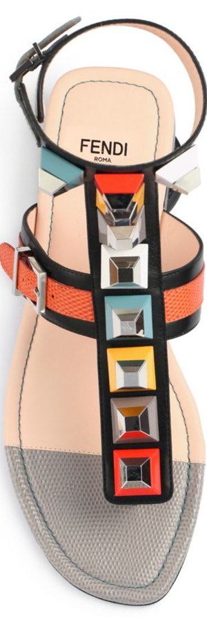 Fendi Multicolor Studded Ankle-Wrap Sandal, Black