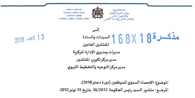 مذكرة رقم 18-168 في شأن الإحصاء السنوي للموظفين بالمصالح المركزية