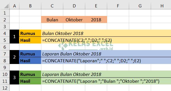 Contoh Fungsi Rumus Concatenate Excel