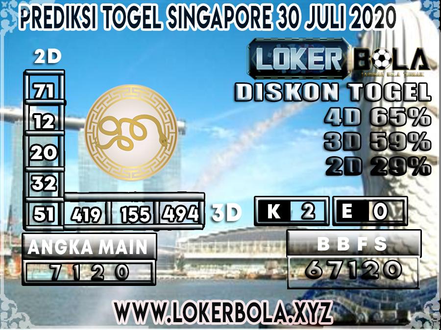 PREDIKSI TOGEL LOKERBOLA SINGAPORE 30 JULI 2020