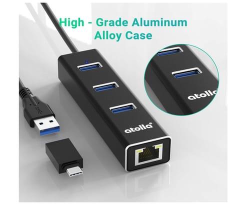 Bauihr USB 3.0 Hub Ethernet with USB C Adapter