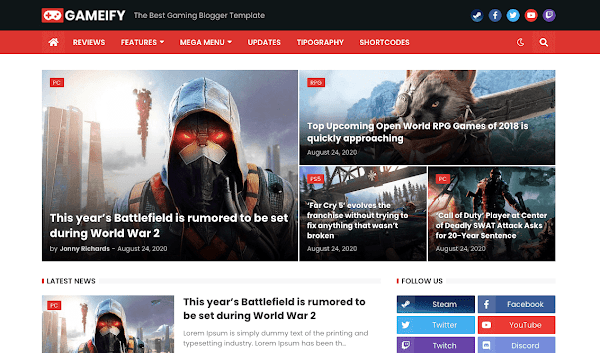 Gameify v1.0 - Responsive Gaming Blogger Template