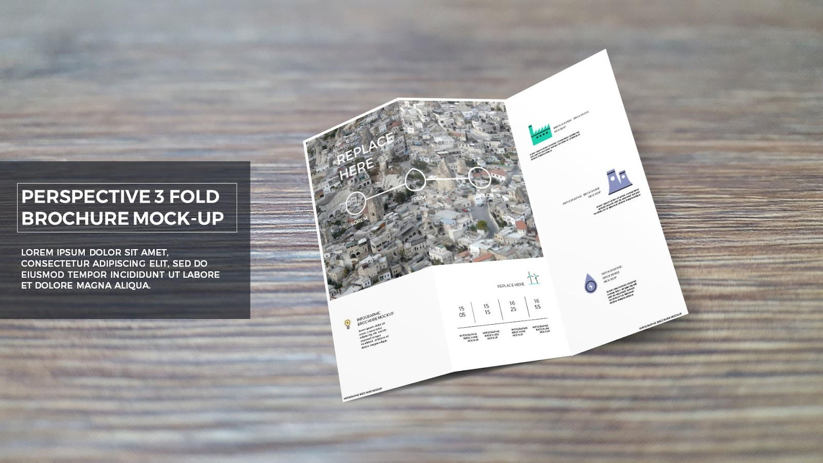 Free powerpoint template with trifold brochure mockup for Tri fold brochure template powerpoint