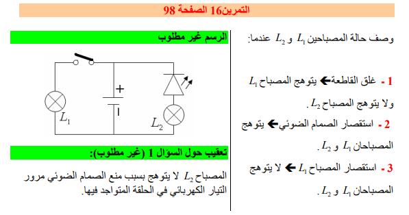 حل تمرين 16 صفحة 98 فيزياء للسنة الأولى متوسط الجيل الثاني