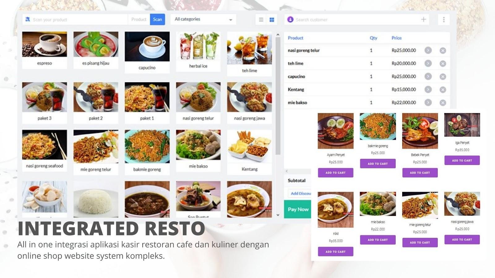 website restoran cafe dan aplikasi pos online order