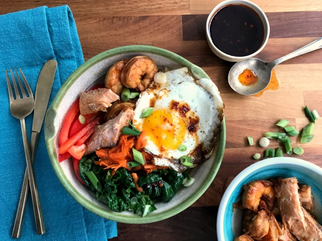 Seafood Bibimbap a Veggie-filled Korean Rice Bowl for people who don't eat beef or pork.