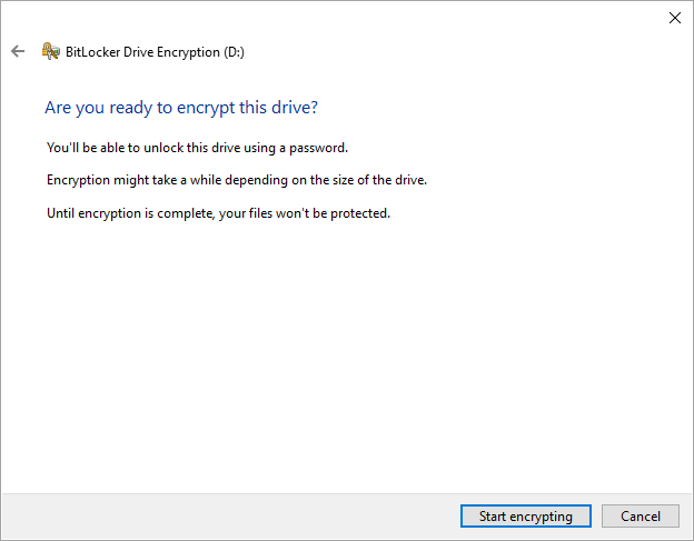 Bitlocker start encrypting