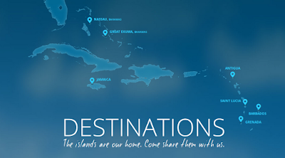 Localisation des hotels est resorts de Luxe aux Caraibes avec Sandals Resorts.