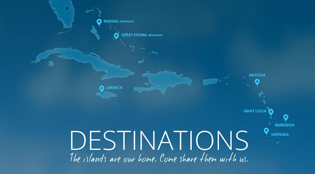 Localisation des hotels est resorts de Luxe aux Caraibes