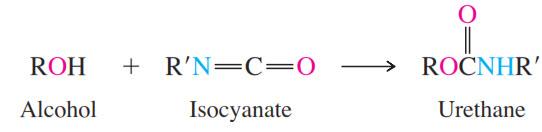 Uretan biasanya berasal dari reaksi alkohol & isosianat.