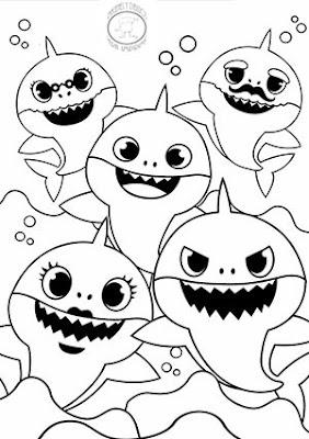 dibujo de personajes de baby shark para colorear