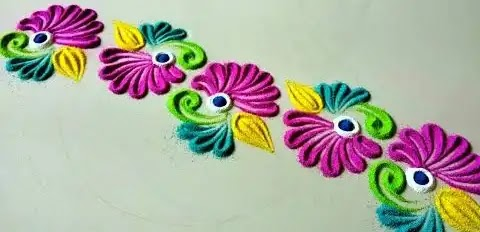 colorful border rangoli design