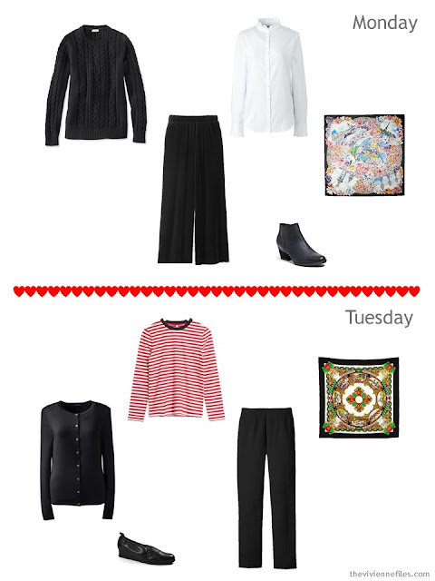 2 outfits from a cold-weather travel capsule wardrobe for Paris