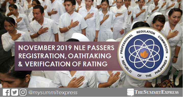 November 2019 NLE passers registration, oathtaking schedule and verification of rating