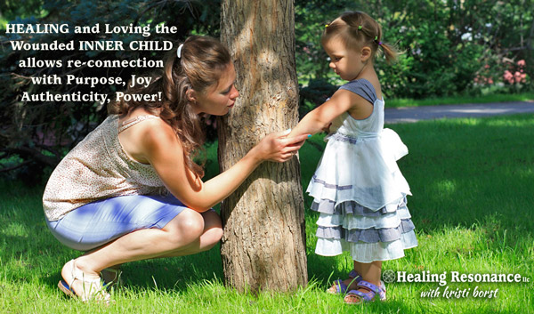 Woman and girl crouch by tree. Graphic representation of current adult self working with inner child self through Kristi Borsts Perspective RebootR spiritual healing process.