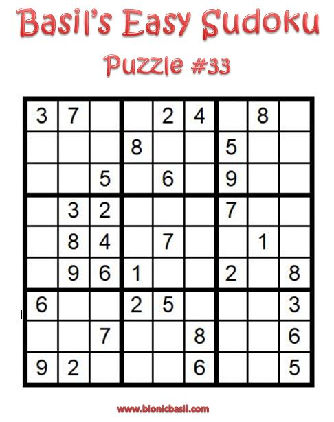 Basil's Easy Sudoku Puzzle #33 Brain Training with Cats ©BionicBasil® Downloadable Puzzle Fur Purrsonal Use Only