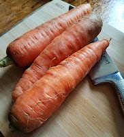"""Our CSA carrots were so huge we only need 3 for this batch of Curried """"Peas and Carrots"""" Split Pea Soup!"""
