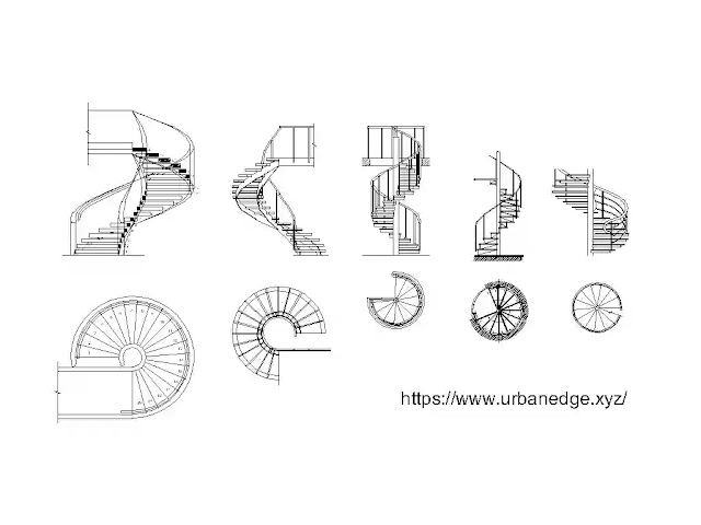 Spiral Stairs dwg cad blocks download, 10+ Spiral stairs plan and elevation