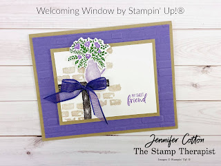 Welcoming Window by Stampin' Up!®.  This card is from my weekly facebook live.  Measurements and supply list on the blog.  #StampinUp #StampTherapist