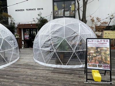 interesting geodesic dome/igloo dining chamber perfect for distancing in a pandemic, spotted nearby Zenkoji Temple in Nagano City, Japan