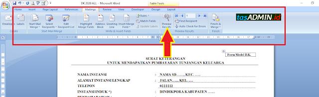 menampilkan data dk menggunakan maillings ms word
