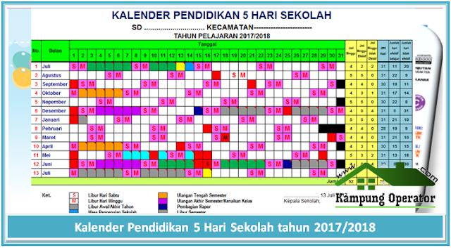 Kalender Pendidikan 5 Hari Sekolah tahun 2017/2018