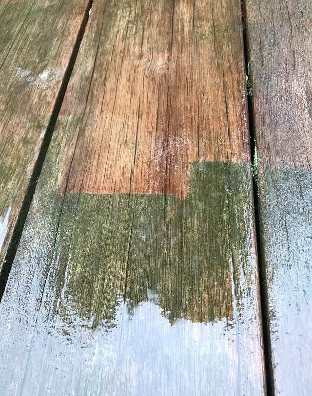 pressure washing wood deck before after detail