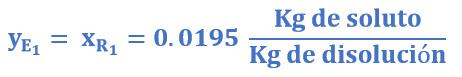 Concentración de extracto y refinado del ejemplo 1
